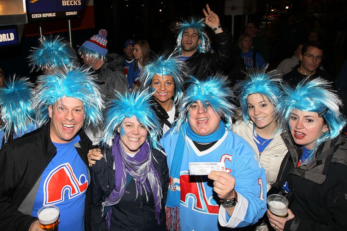 UNIONDALE NY - DECEMBER 11:  Members of 'Nordiques Nation' party in NYC - You thought it was over with Jets fans getting their team back, it is just beginning.  (Photo by Jim McIsaac/Getty Images)