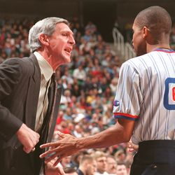 Utah Jazz head coach Jerry Sloan argues for a flagrant foul during a game against the Orlando Magic on Jan. 17, 1998.