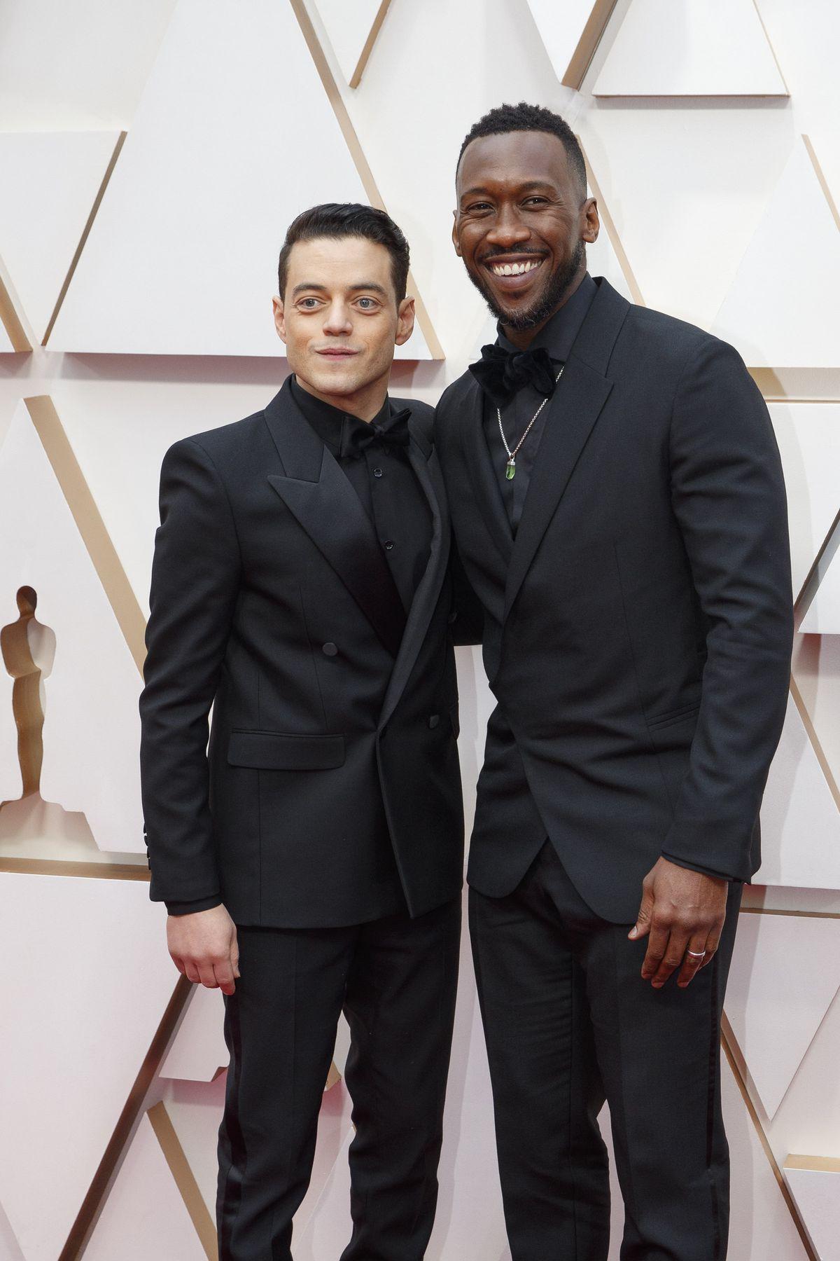 Mahershala Ali and Rami Malek on the Oscars red carpet.