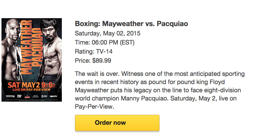 mayweather pay per view