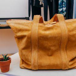 """The softest, lightest, biggest bag in a burnt sand desert palette."" <b>Vanessa Bruno</b> Atlanta Cabas velour bag, <a href=""http://www.spiritualameri.ca/new-arrivals.html"">$898</a>"