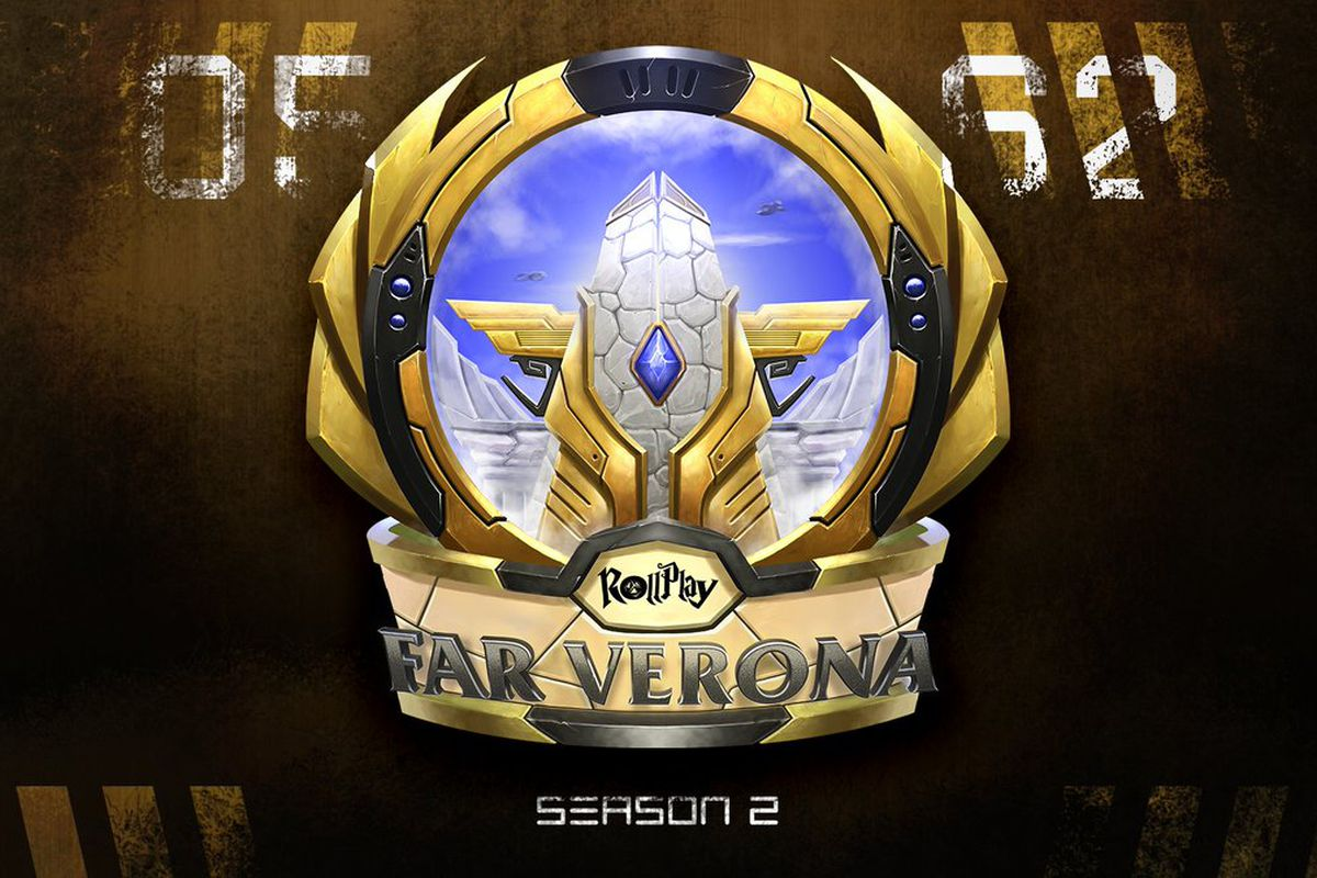The logo for Far Verona season 2 shows a stylized city with a cloudless sky behind it. The log appears to be painted on the hull of a rusty old starship.