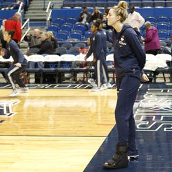 UConn's Katie Lou Samuelson (33) watches her team warmup at the XL Center in Hartford, CT on November 19, 2017.