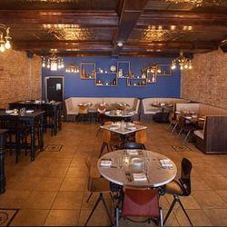"""Start your day off at at the buzzy <a href=""""http://dusekschicago.com/"""">Dusek's</a> [1227 West 18th Street.] In Thalia Hall, <a href=""""http://chicago.eater.com/places/duseks"""">the pretty restaurant</a> is decked with deep-blue walls and vintage chandeliers,"""