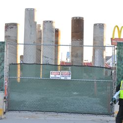 """A view of the multiple """"posts"""" now visible from the Waveland side of the triangle lot"""