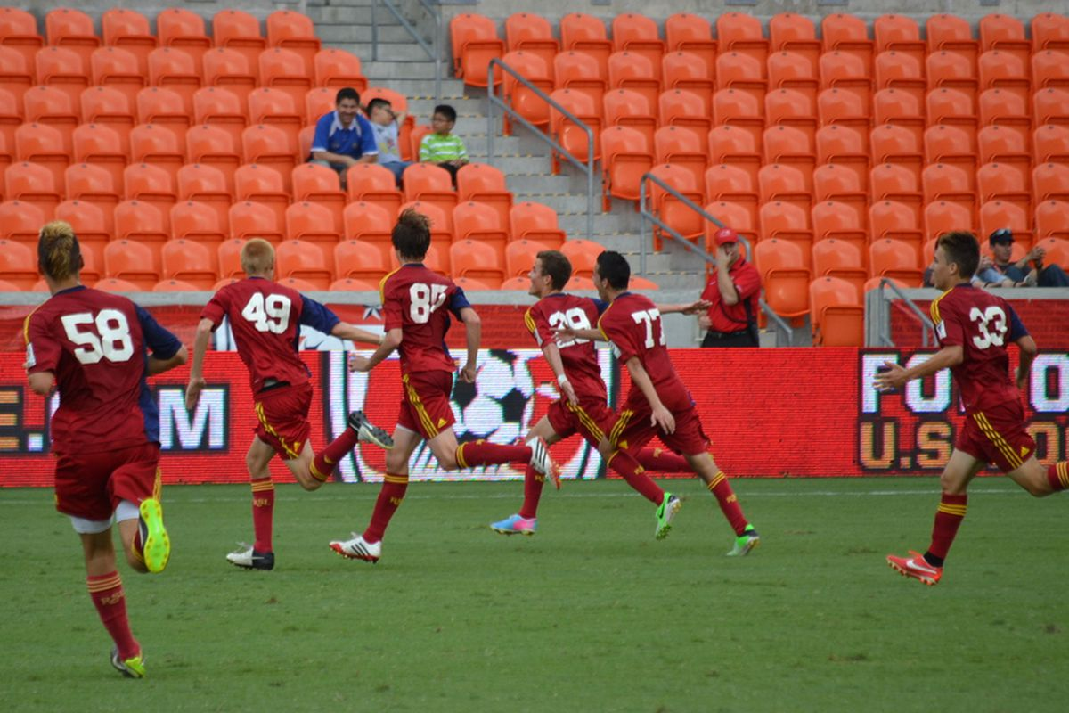 Brooks Lennon, no. 29, celebrates with the rest of the RSL academy in the U-16 USSDA playoffs.