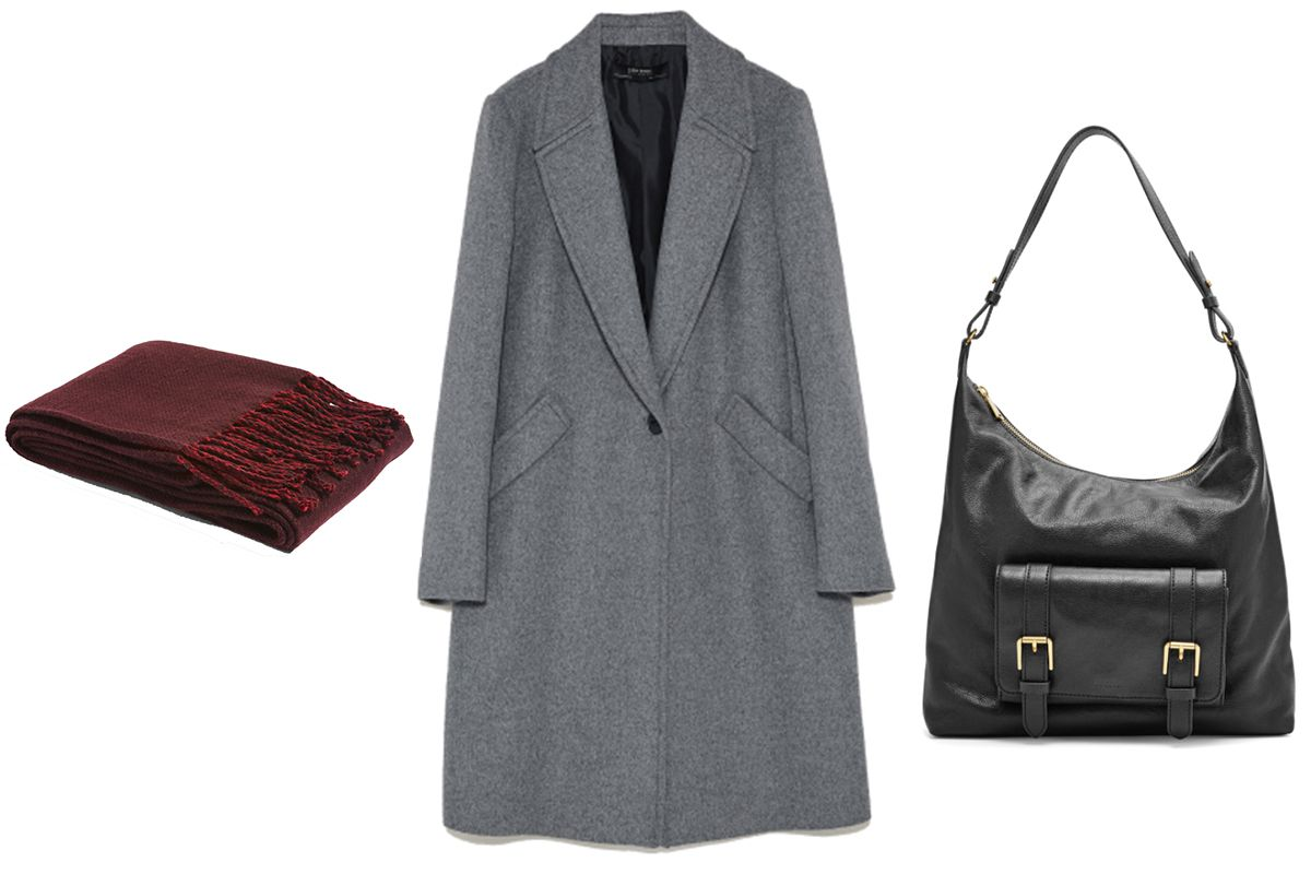 Topshop Double Faced Supersoft Scarf, $35. Zara Masculine Coat With Lapels, $149. Fossil Cleo Hobo, $83.16.