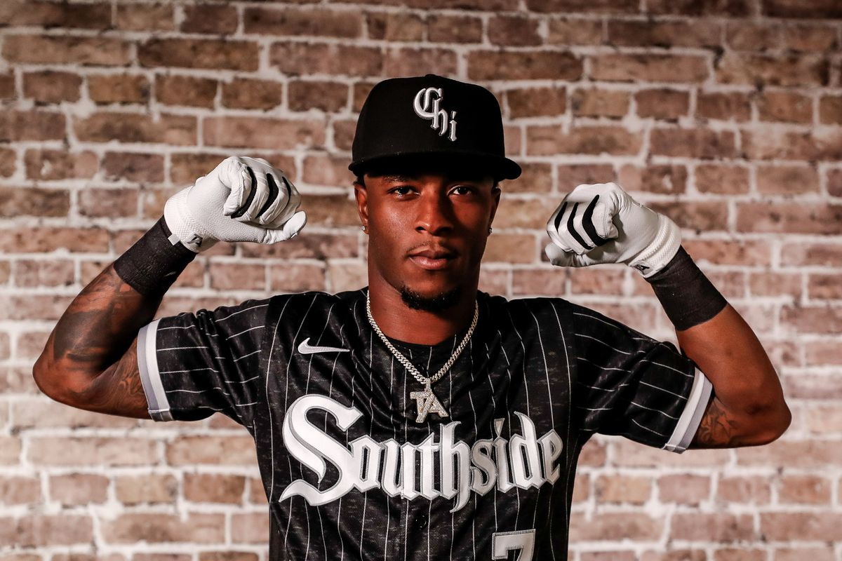 Tim Anderson models the White Sox' new City Connect alternate uniform.