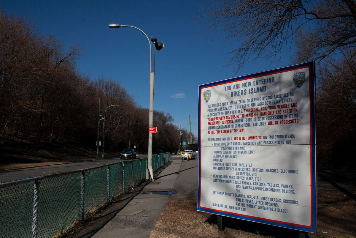 A sign on the way to Rikers Island, but the jail complex has been off-limits to visitors since March.