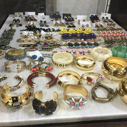 Earrings and bracelets, $25