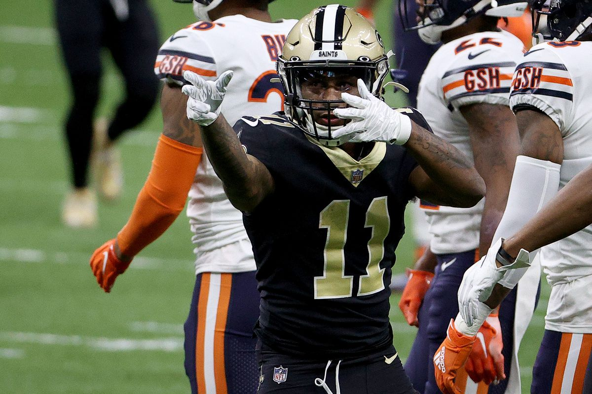 Deonte Harris #11 of the New Orleans Saints reacts during the first quarter against the Chicago Bears in the NFC Wild Card Playoff game at Mercedes Benz Superdome on January 10, 2021 in New Orleans, Louisiana.