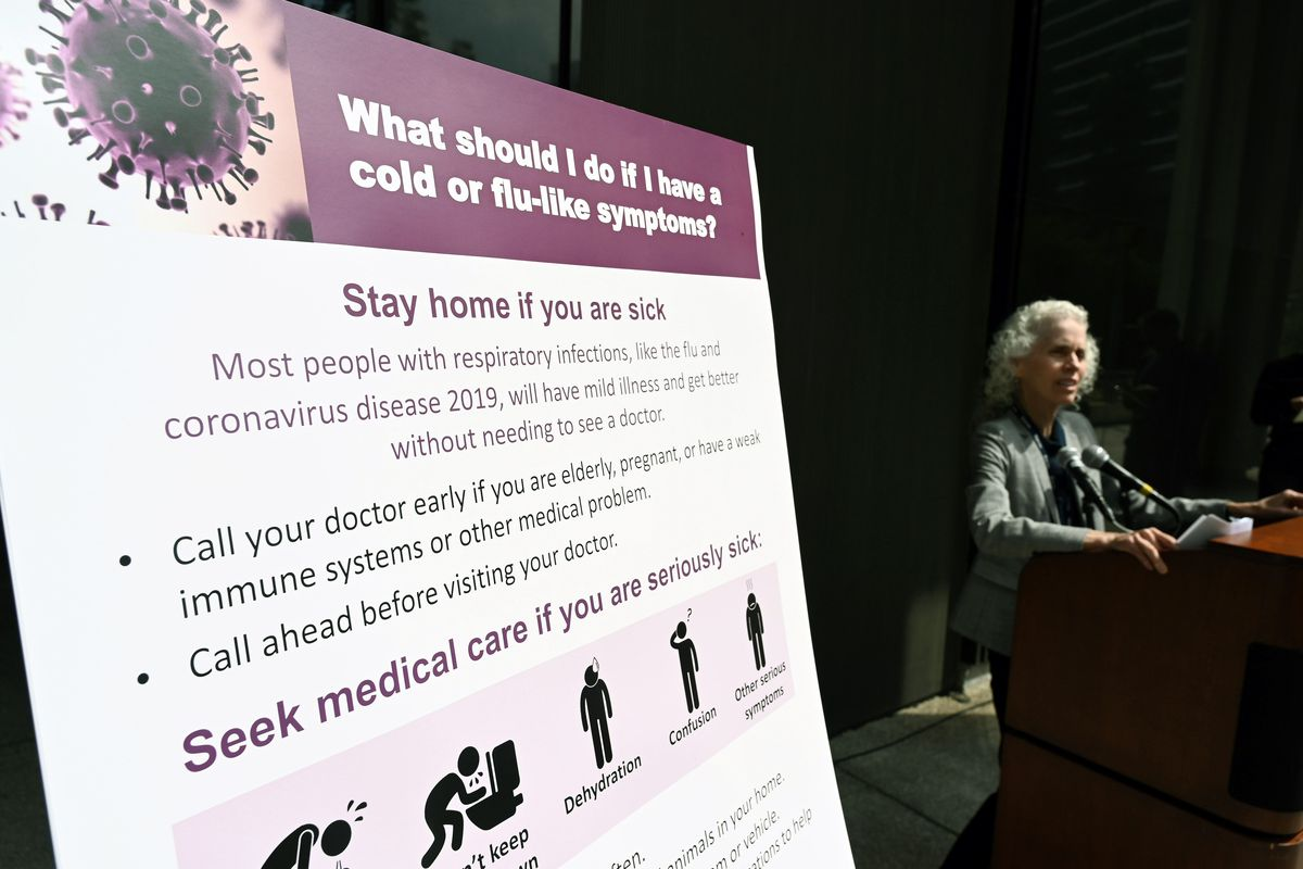 Los Angeles County Public Health director Barbara Ferrer speaks at a press conference on COVID-19, March 6, 2020.