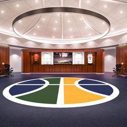 Artist rendering of a renovated Utah Jazz locker room at Vivint Smart Home Arena.