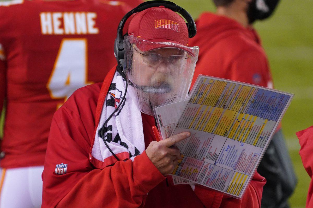 Kansas City Chiefs head coach Andy Reid watches play during the game against the Houston Texans at Arrowhead Stadium.