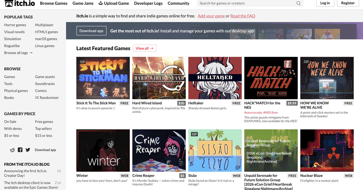 Itch.io is waiving all sales fees today for 'Creator Day'