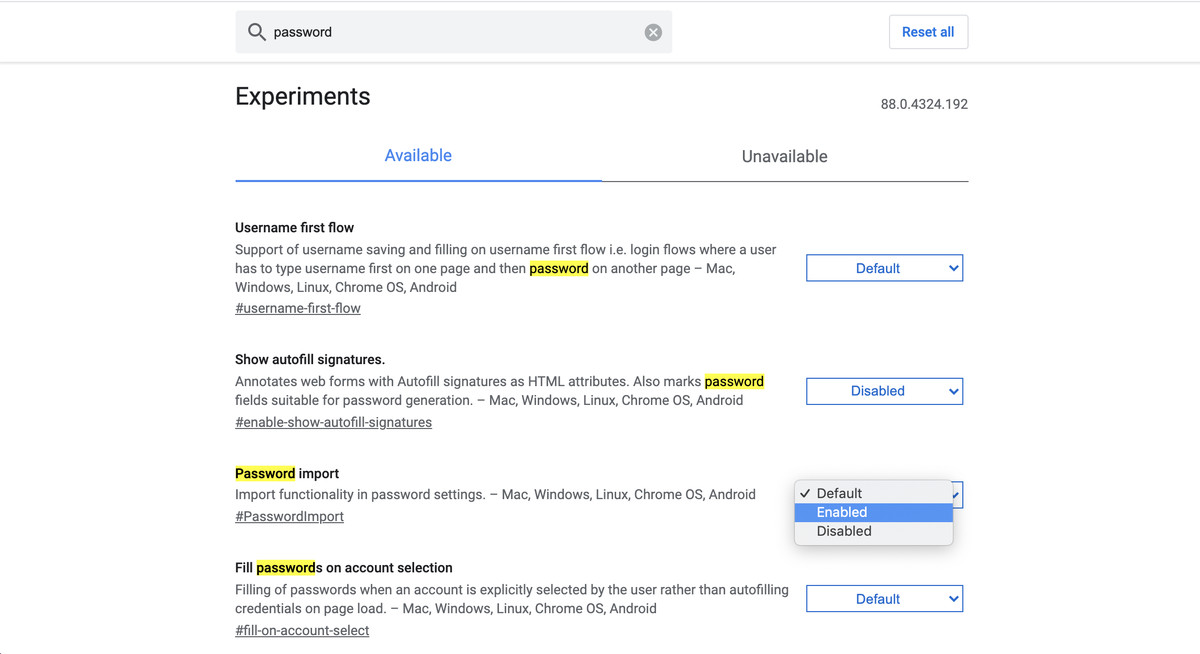You can enable the import feature on Chrome's Experiments page