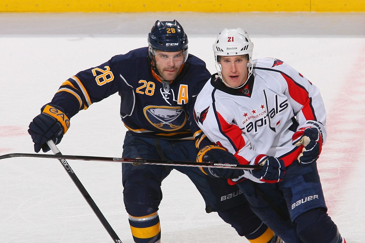 BUFFALO, NY - DECEMBER 26: Brooks Laich #21 of the Washington Capitals skates against Paul Gaustad #28 of the Buffalo Sabres in the first period  at First Niagara Center on December 26, 2011 in Buffalo, New York.  (Photo by Rick Stewart/Getty Images)