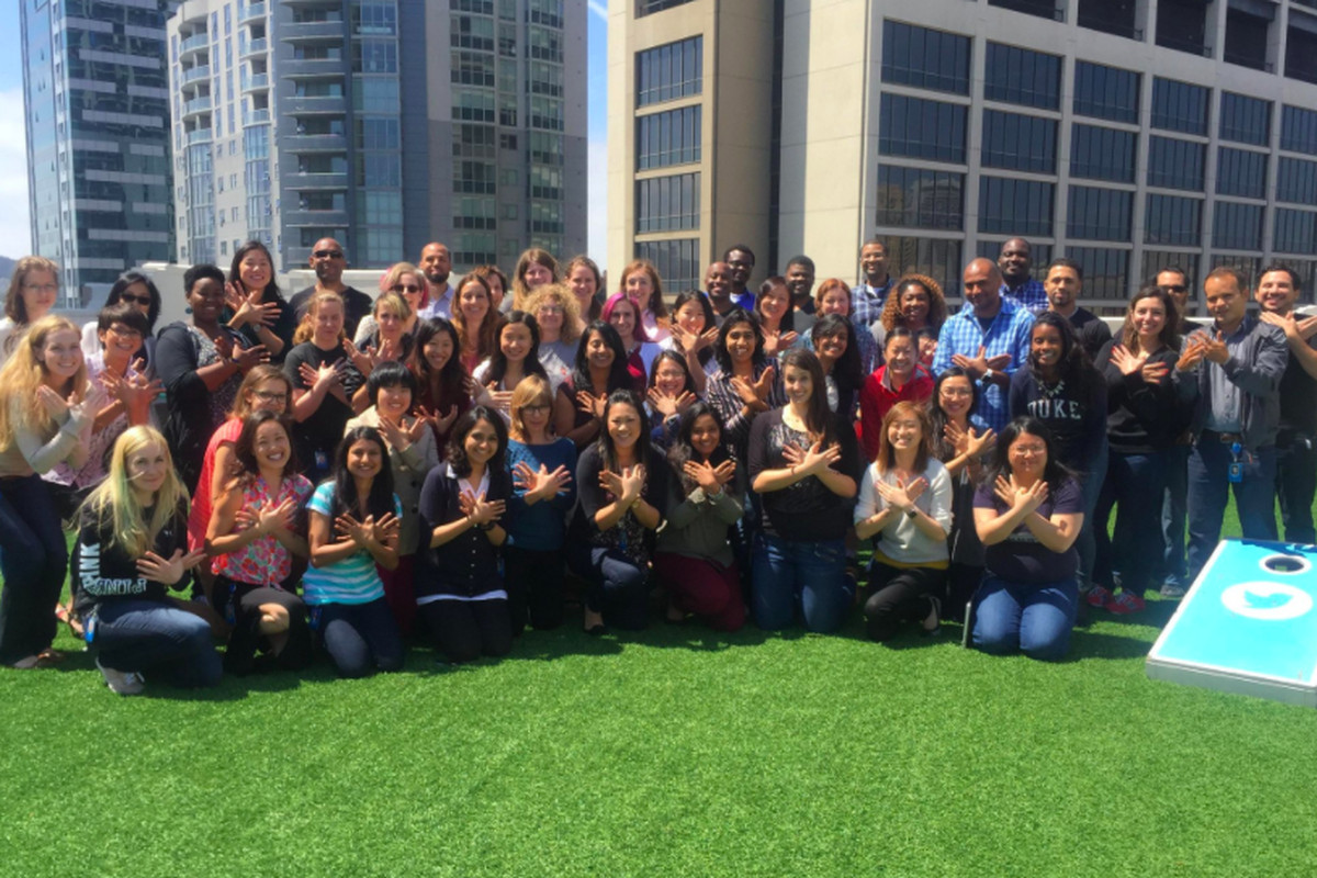 Twitter employees pose for  picture on the patio of the company's SF headquarters.