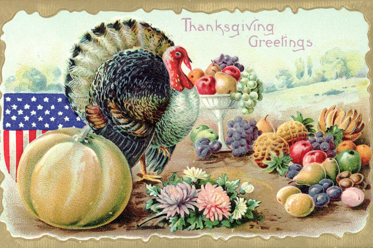 Thanksgiving Greetings Postcard with a Turkey and Fruit