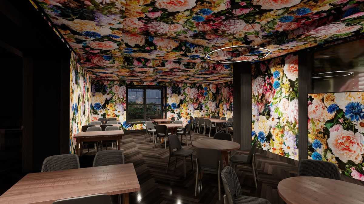 A computer rendering of a colorful dining room with a floral ceiling.