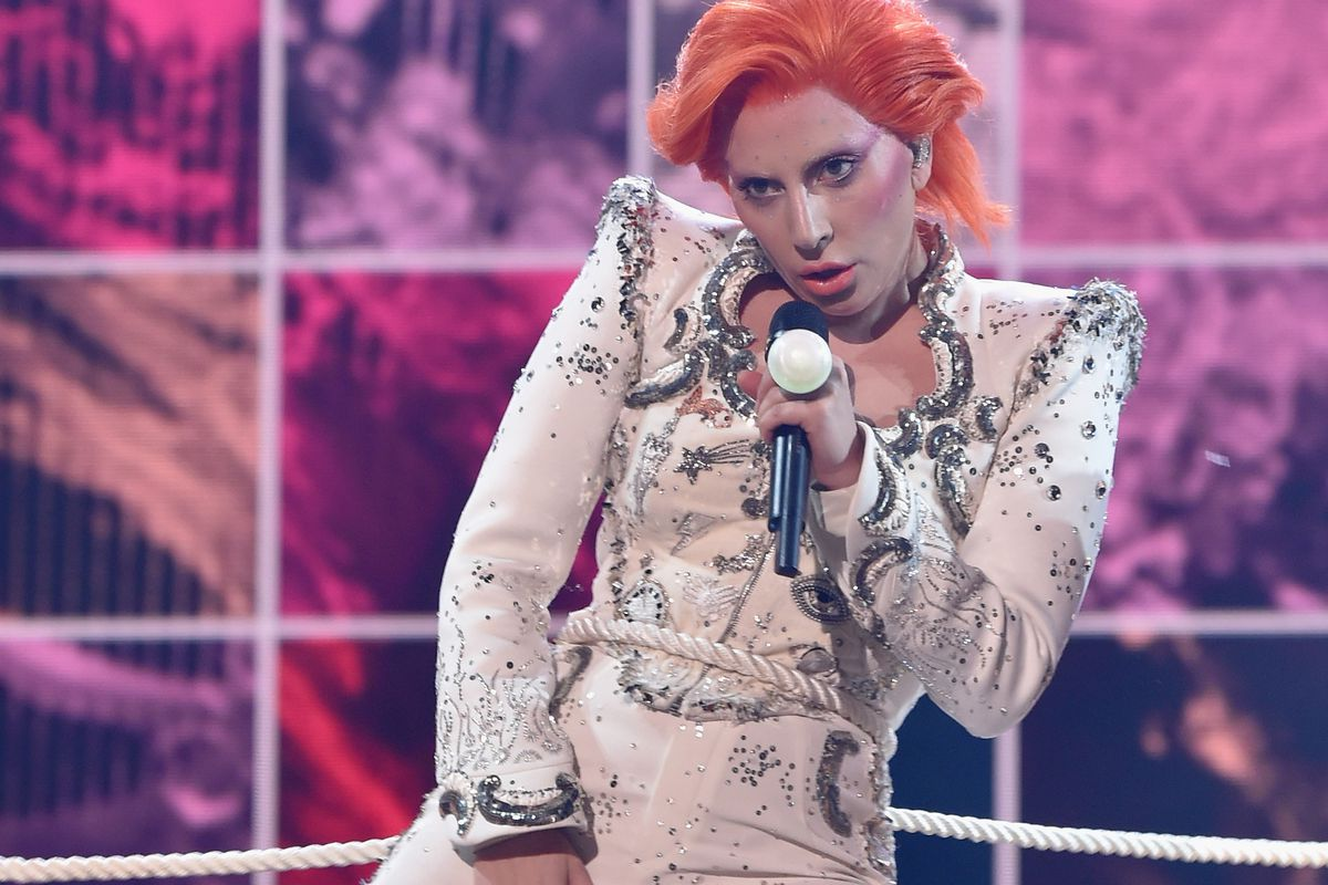 Singer Lady Gaga performs a tribute to the late David Bowie onstage during the 58th Grammy Awards at Staples Center on February 15, 2016, in Los Angeles, California.