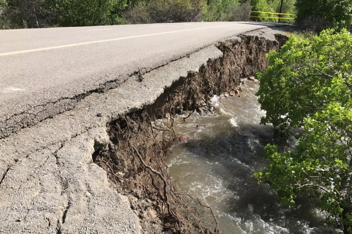 The Utah County Sheriff's Office on Sunday, May 14, 2017, closed part of the Provo River Parkway Trail due to high runoff and a portion of the trail being eroded away by the water.