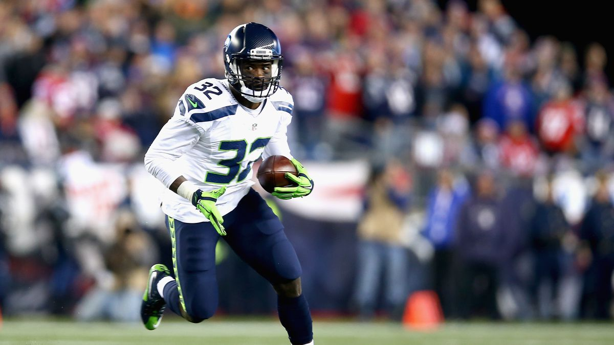 Christine Michael of the Seattle Seahawks carries the ball during the second quarter of a game against the New England Patriots at Gillette Stadium on November 13, 2016 in Foxboro, Massachusetts.