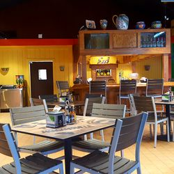 Despite its garage door openings, the restaurant boasts a quazi-indoor dining experience as well.
