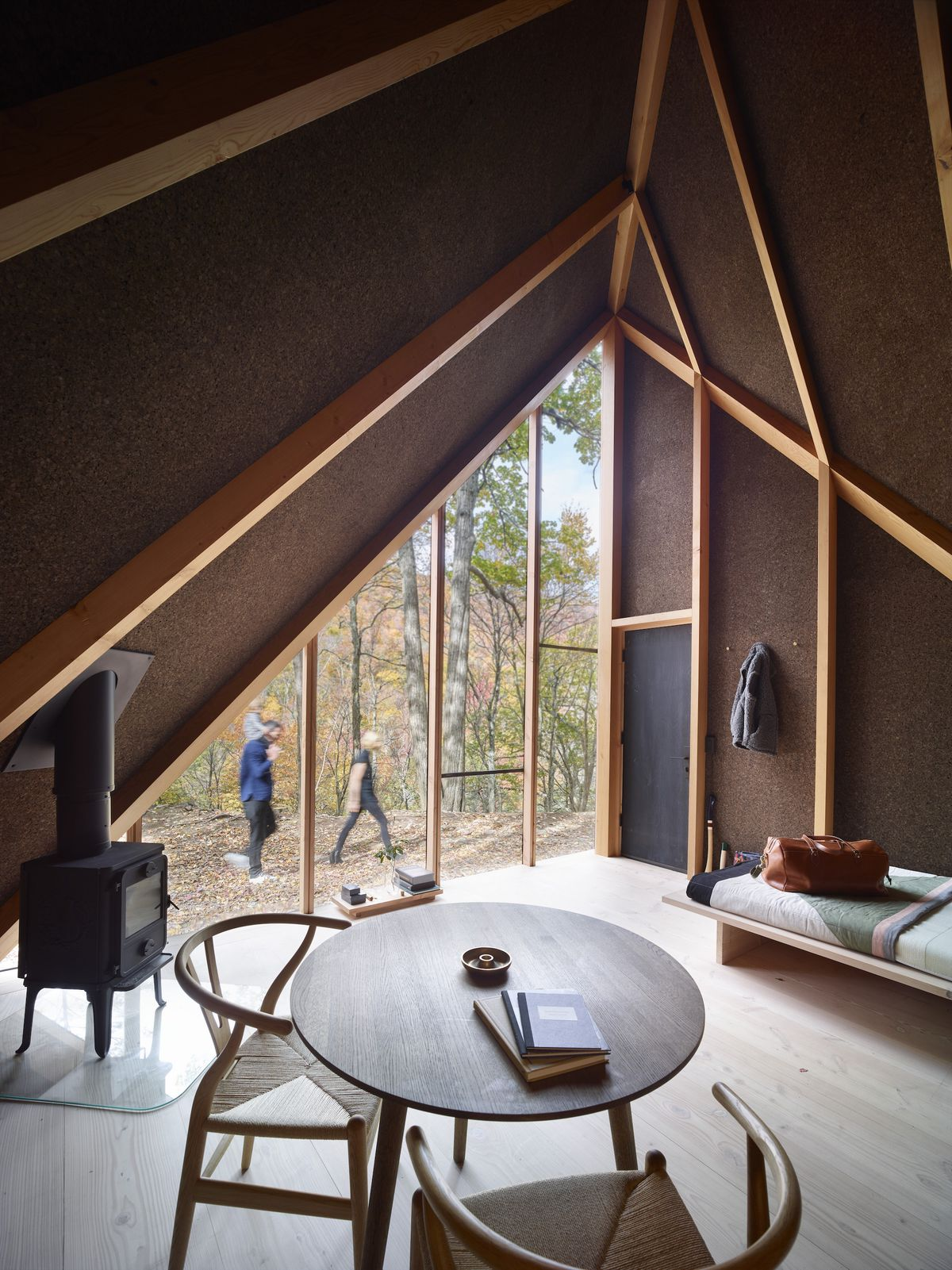 inside of a-frame cabin looking out windows