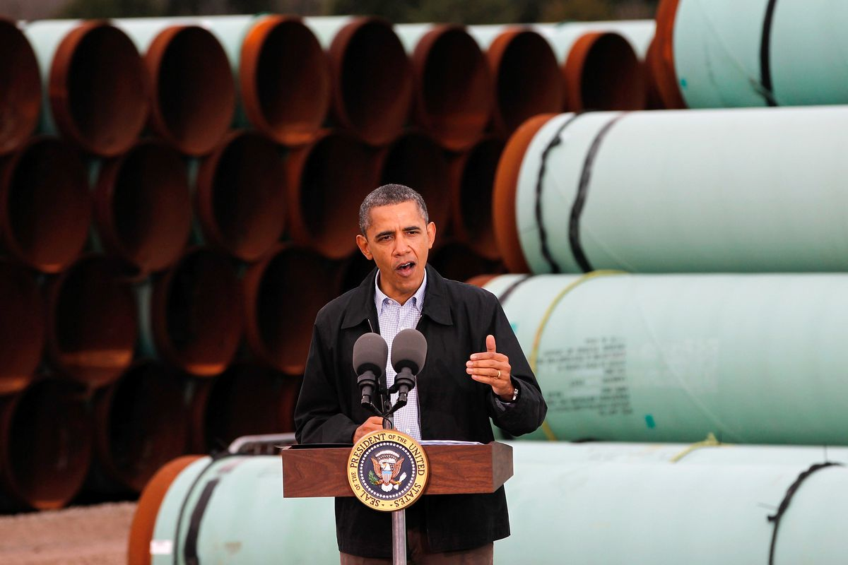 U.S. President Barack Obama speaks at the southern site of the Keystone XL pipeline on March 22, 2012 in Cushing, Oklahoma.