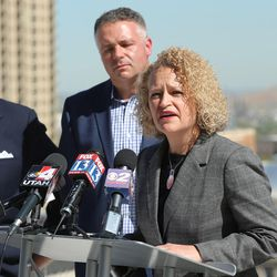 Salt Lake City Mayor Jackie Biskupski discusses Downtown Rising projects and its priorities for the next 10 years from atop the Walker Center in Salt Lake City on Tuesday, May 3, 2016. She was joined by local business leaders and other elected officials.
