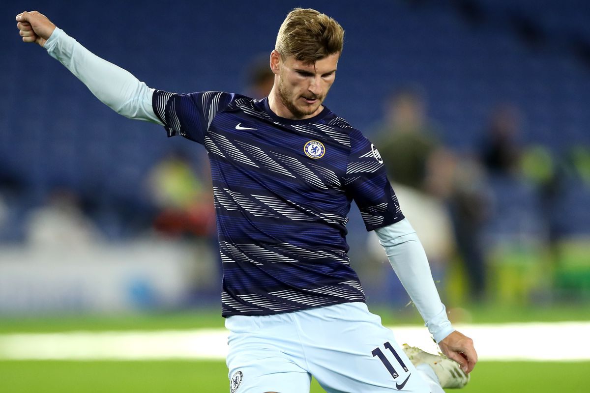 Timo Werner warms up - Chelsea - Premier League