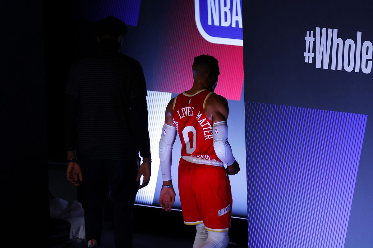 Russell Westbrook of the Houston Rockets walks to the locker room after being defeated by the Portland Trail Blazers 110-102 at The Arena at ESPN Wide World Of Sports Complex on August 04, 2020 in Lake Buena Vista, Florida.