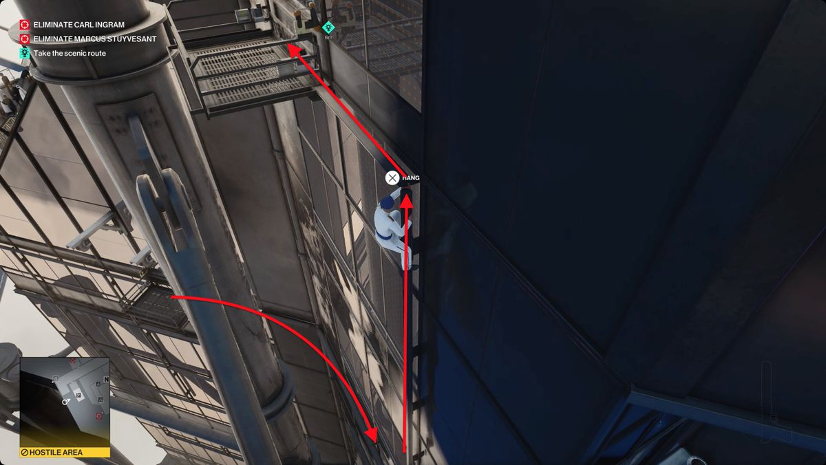 """Hitman 3 """"How The Mighty Fall"""" Mission Story - climbing up beam on the outside of the Burj al-Ghazali"""