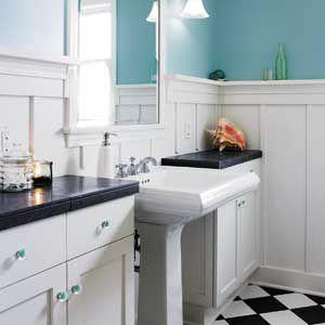 Cool blue paint used bathroom.