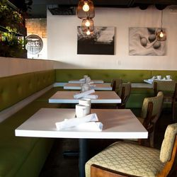 The dining room at Eat. The chairs were the first design element chef Natalie Young found and built the entire decor around them.