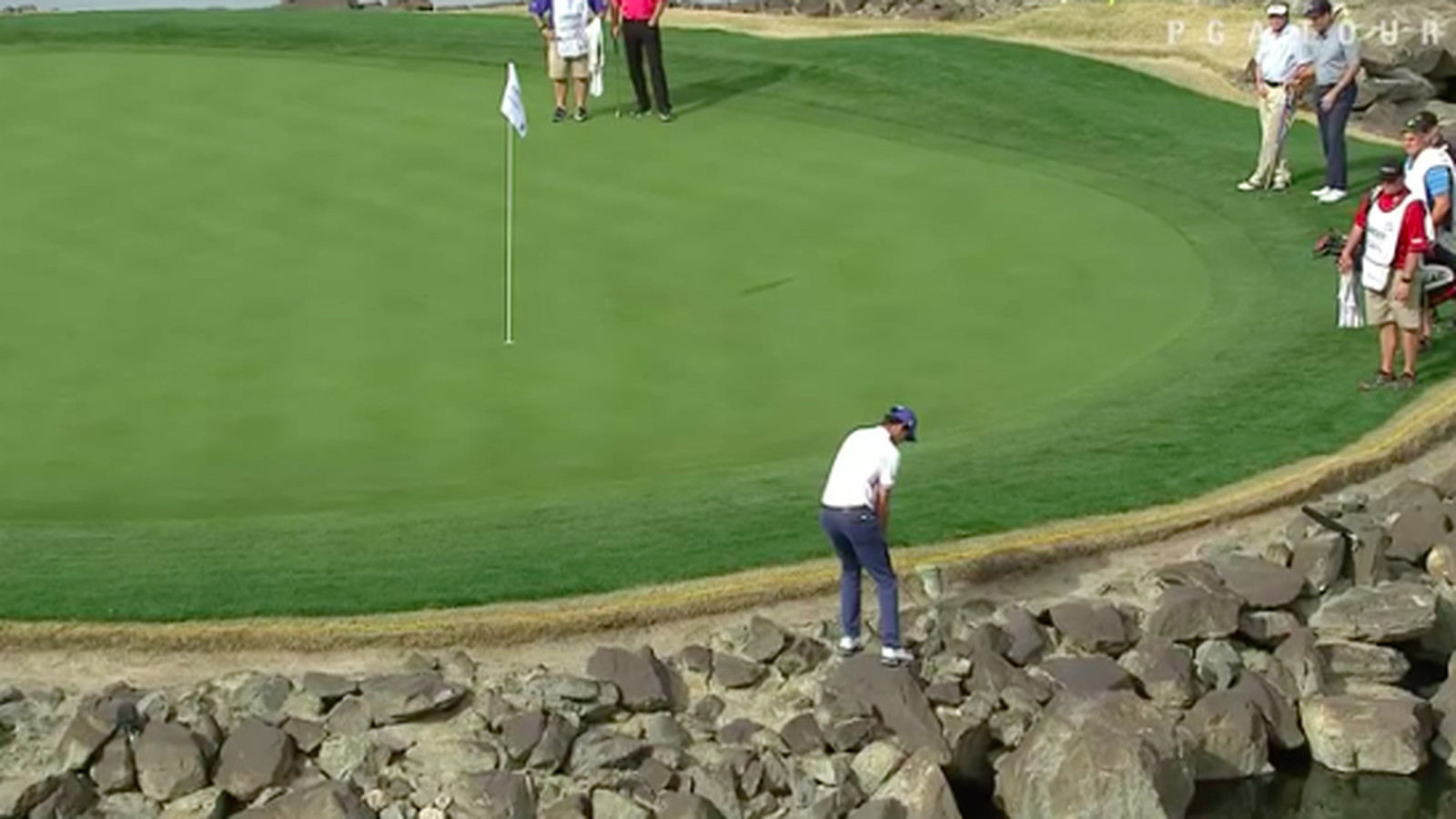 pga tour pro u0026 39 s attempted shot off rocks ends with
