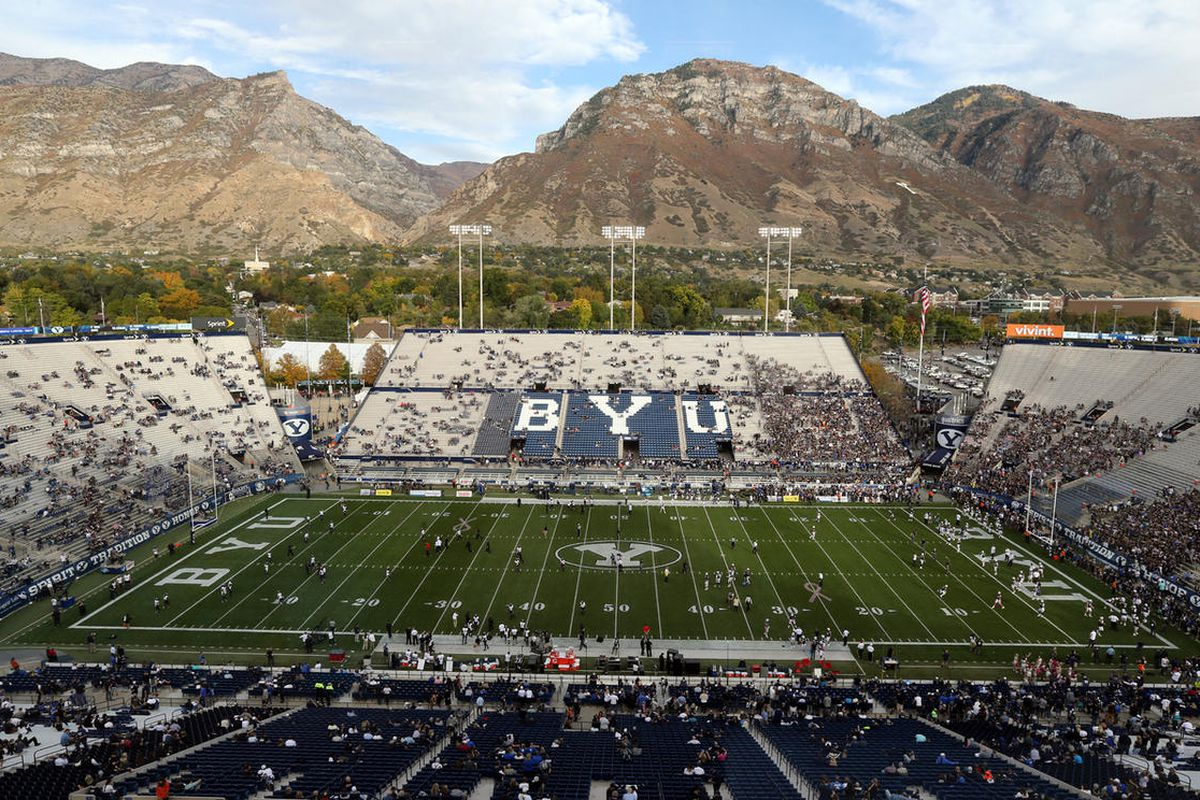 FILE — BYU warms up before playing Cincinnati in a football game at the LaVell Edwards Stadium in Provo Friday, Oct. 16, 2015.