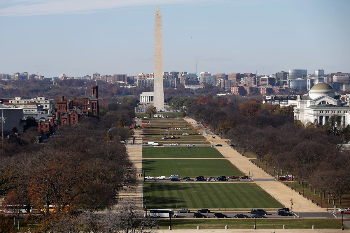 The National Mall and Washington Monument is seen from the rooftop of the US Capitol November 18, 2014, in Washington, DC. (Photo by Chip Somodevilla/Getty Images)