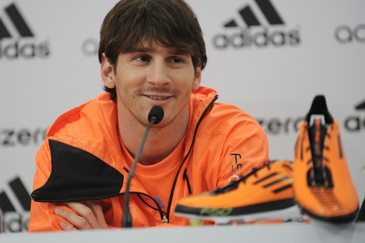 BARCELONA SPAIN - JANUARY 13:  Lionel Messi attends a press conference during the launch of the new adiZero footwear range from adidas on January 13 2011 in Barcelona Spain.  (Photo by David Ramos/Getty Images for adidas)