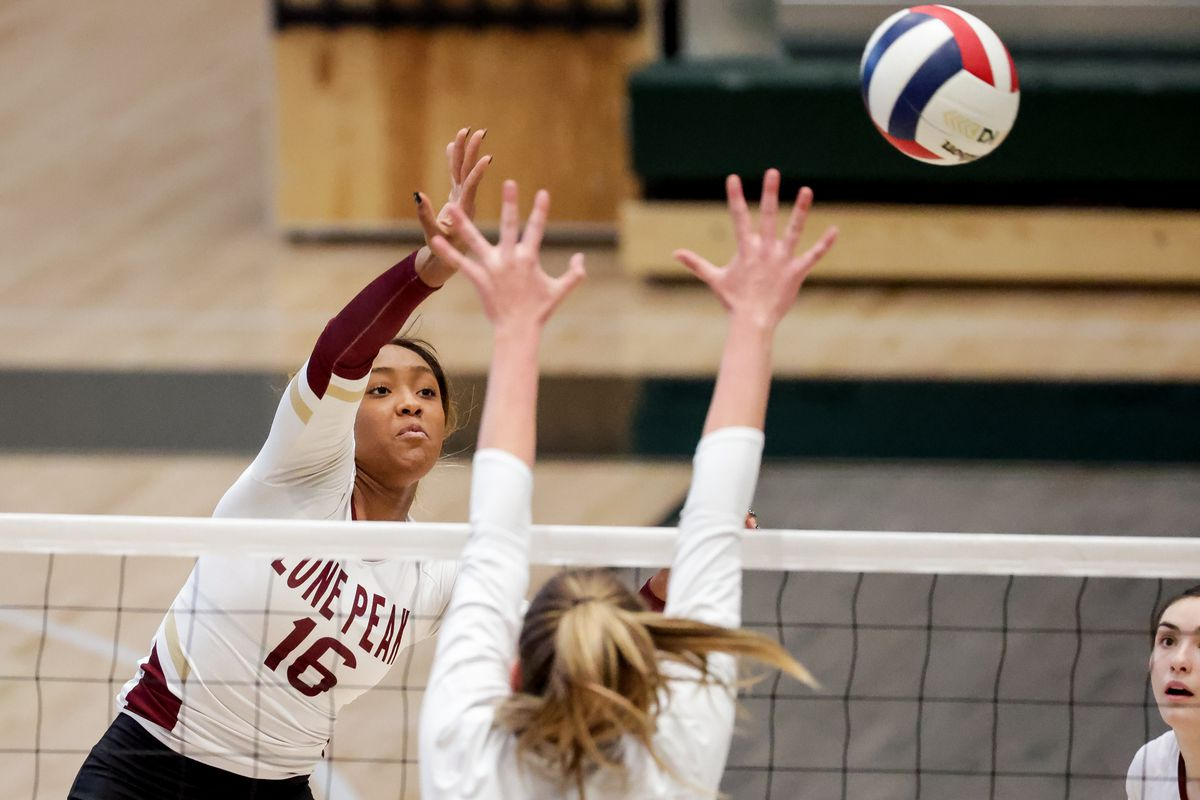 Lone Peak's Annie Taylor hits the ball as her team and Fremont face off in a 6A volleyball state semifinals game at Hillcrest High School in Midvale on Friday, Nov. 6, 2020.