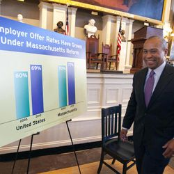 Massachusetts Gov. Deval Patrick walks past a chart before an event at Faneuil Hall in Boston, Wednesday, April 11, 2012, celebrating the sixth anniversary of Massachusetts' landmark health care law that was signed by former Gov. Mitt Romney in 2006.