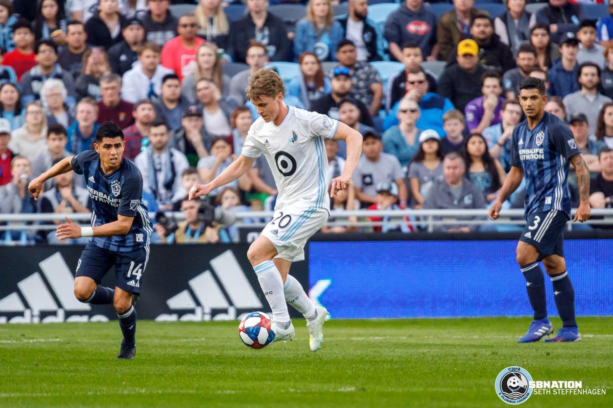 April 24, 2019 - Saint Paul, Minnesota, United States - Minnesota United midfielder Rasmus Schüller (20) during the match against the LA Galaxy match at Allianz Field.