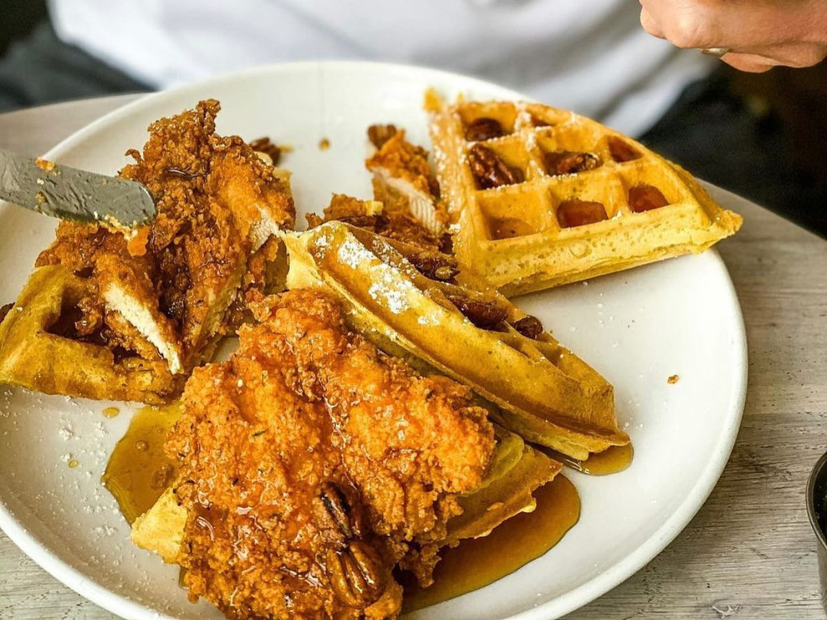 Fried chicken and waffles at Forthright
