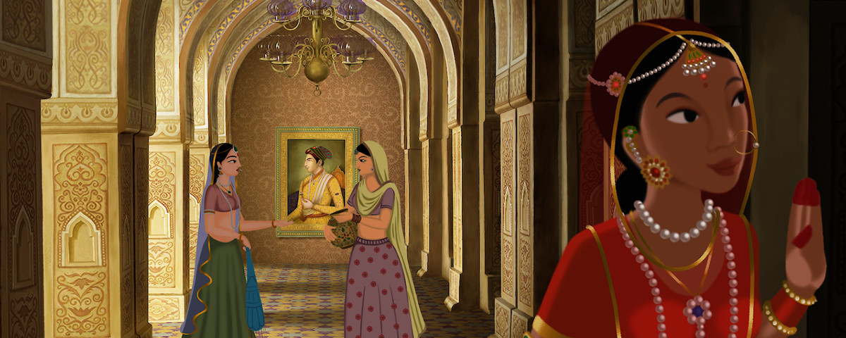A smiling Indian woman in red in Netflix's Bombay Rose steps out of a bright golden hallway into a darker alcove