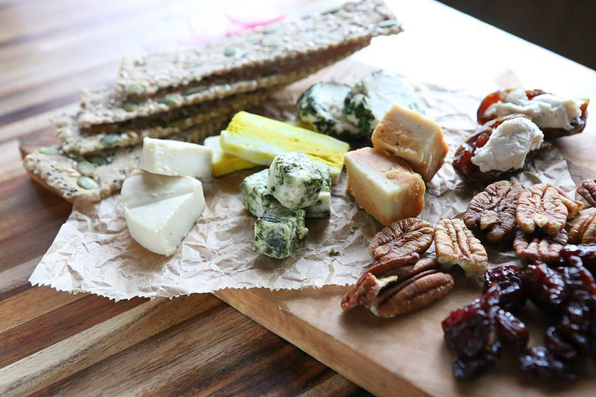 A vegan cheese and cracker board.