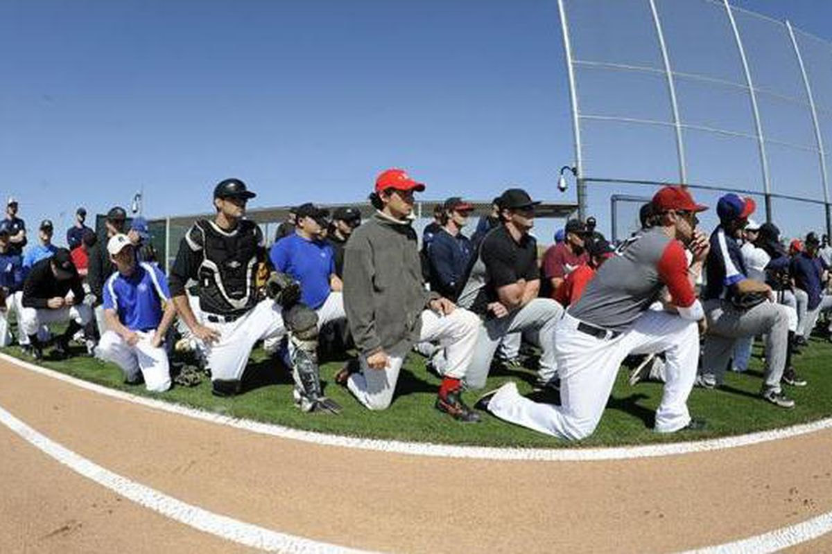 Players await the Dodgers open tryout on Thursday at Camelback Ranch (photo courtesy of Jon SooHoo / LA Dodgers)