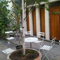 """""""Hence the lovely courtyard set up with tables... And what used to be toilets in the background...."""" —<a href=""""http://twitter.com/#!/robinschulie/status/85976950748872704"""" rel=""""nofollow"""">@robinschulie</a>"""