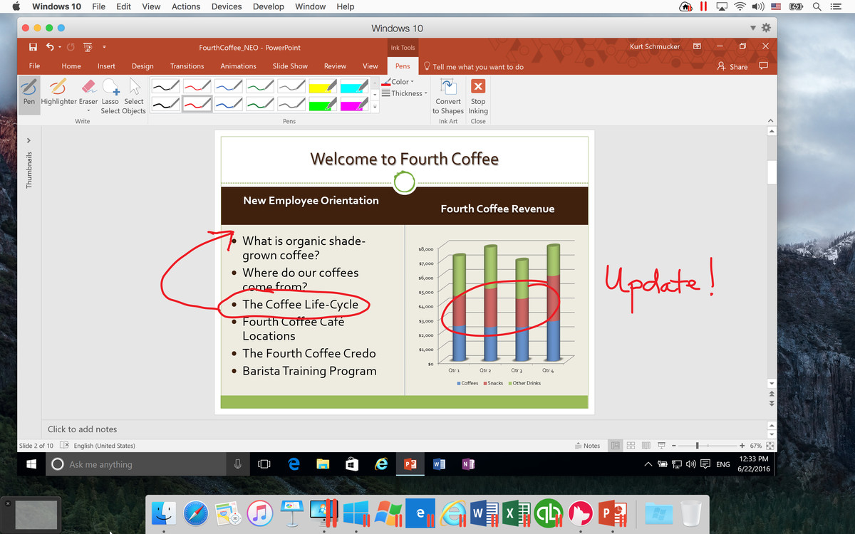 A screenshot of PowerPoint for Windows 2016, updated with scribbles from Ink, running on a Mac.