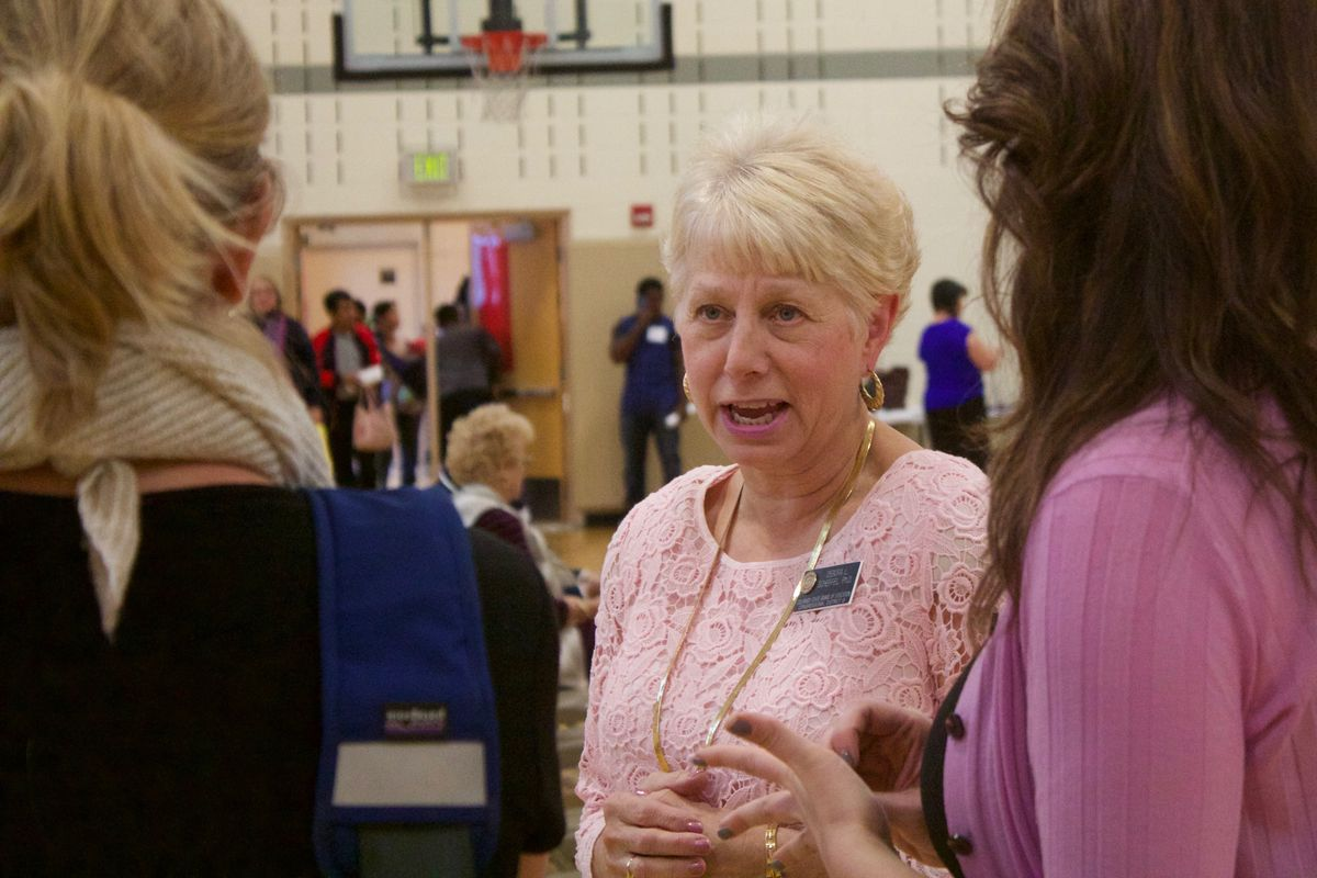 State Board of Education member Debora Scheffel at a campaign event in 2016. (Photo by Nic Garcia/Chalkbeat)